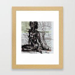 Sunset, Girl, Woman, Drawing Framed Art Print
