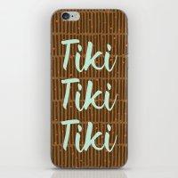 tiki iPhone & iPod Skins featuring Tiki Tiki Tiki - Beige/ Mint by YouNameIt