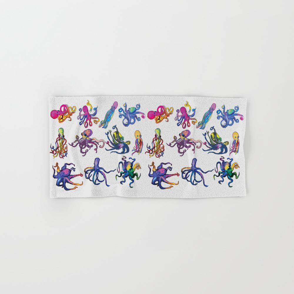 Octopus Dance Ink Watercolor Hand Towel by Cunninghamwatercolors BTL7407142