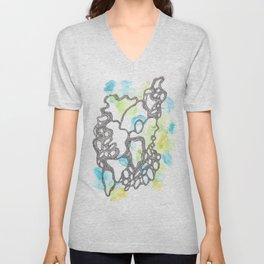 Scandi Micron Art Design | 170714 Abstract Watercolour Play 3 Unisex V-Neck