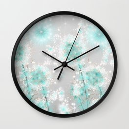 Dandelions in Turquoise Wall Clock