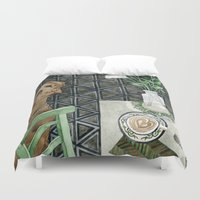 labrador Duvet Covers featuring Geometry Labrador by Yuliya