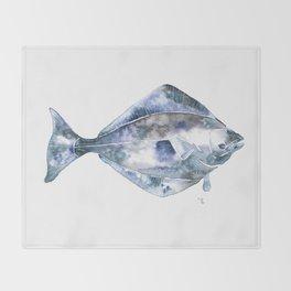 Flat Fish Watercolor Throw Blanket