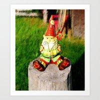 gnome Art Prints featuring Gnome by Raffaella315