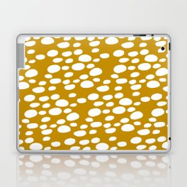 Monstera Leaf Hole Pattern - mustard yellow Laptop & iPad Skin