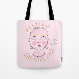 Resting Sad Girl Face Tote Bag