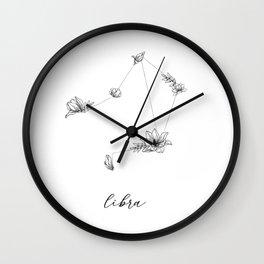 Libra Floral Constellation Wall Clock