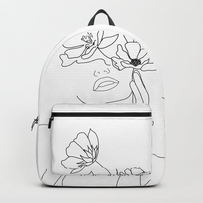 Minimal Line Art Woman with Flowers Rucksack