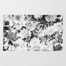Black gray modern watercolor roses floral pattern Rug