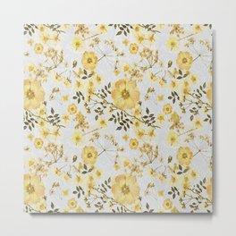 Yellow Roses on Grey Metal Print