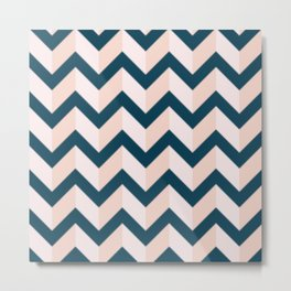 Blue and Shades of Pink Chevron Metal Print