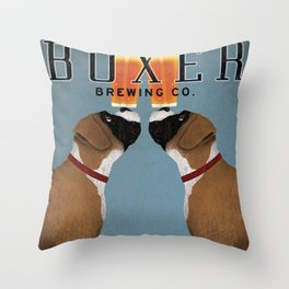 Boxer Dog Brewing Beer Co. Sign Throw Pillow