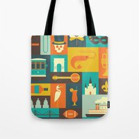 new orleans Tote Bags featuring New Orleans by Ariel Wilson