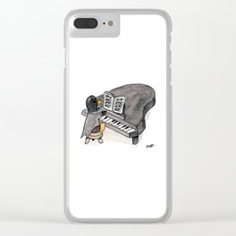 Penguin on a Baby Grand Piano Clear iPhone Case