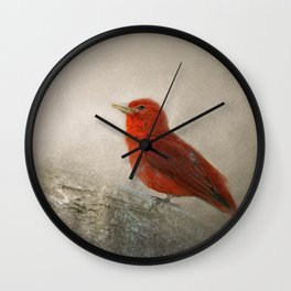 Song of the Summer Tanager 1 - Birds Wall Clock