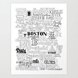 Boston Typography Mashup Art Print