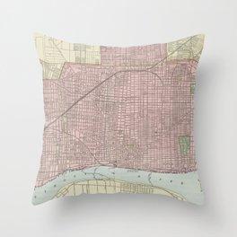 Vintage Map of Detroit Michigan (1901) Throw Pillow