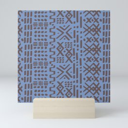 Mudcloth No. 2 in Dusty Blue + Taupe Brown Mini Art Print