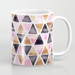 Rose Gold Pink Black Ink Geometry Coffee Mug