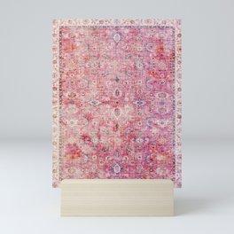 N45 - Pink Vintage Traditional Moroccan Boho & Farmhouse Style Artwork. Mini Art Print
