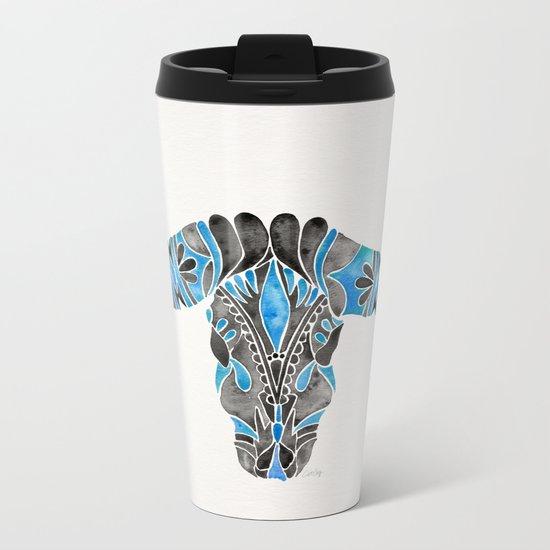 Water Buffalo Skull – Black & Blue Metal Travel Mug