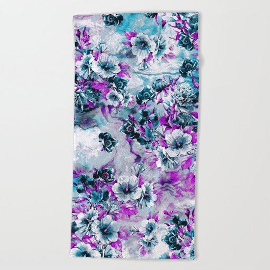 Frozen Flowers IV Beach Towel