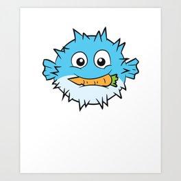 Pufferfish Eating Carrot Meme Pufferfish Meme Art Print