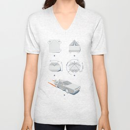 Origami DeLorean Unisex V-Neck