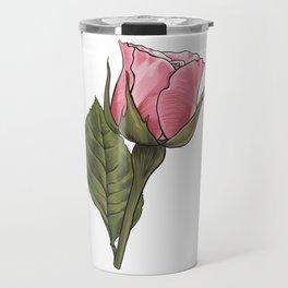 Pink Rosebud Flower Travel Mug