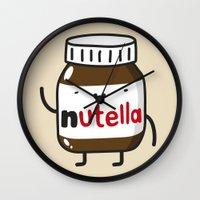 nutella Wall Clocks featuring HAPPY NUTELLA IS HAPPY by Agustin Flowalistik