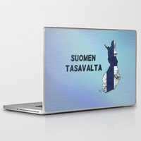 finland Laptop & iPad Skins featuring Finland / Suomen Tasavalta by Dandy Octopus