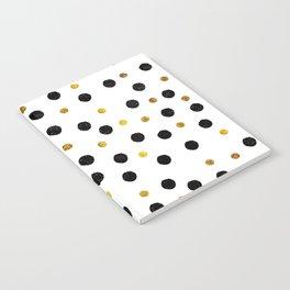 Black & Gold Glitter Confetti on white background- Elegant pattern Notebook