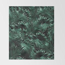 Tropical Palm Leaf Jungle Night #1 #tropical #decor #art #society6 Throw Blanket