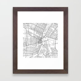 Winnipeg Map, Canada - Black and White Framed Art Print