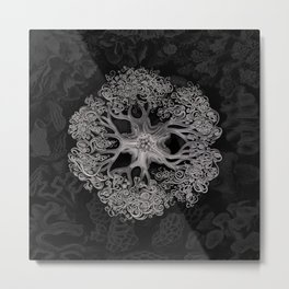Jellyfish (Black and White) Metal Print
