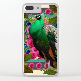GREEN PEACOCK & PINK ROSE  FLOWERS CREAM ART Clear iPhone Case