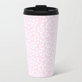 Palest Pink and White Polka Dot Pattern Travel Mug