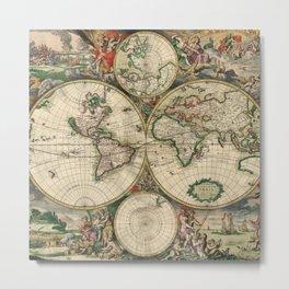 1689 Antique World Globe Map Metal Print