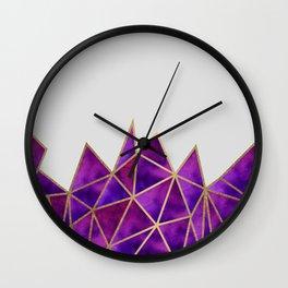 Purple & Gold Geometric Wall Clock