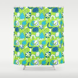 Brushstroke Abstracts - blue and green Shower Curtain