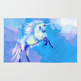 Unicorn Dream - fantasy animal painting Rug