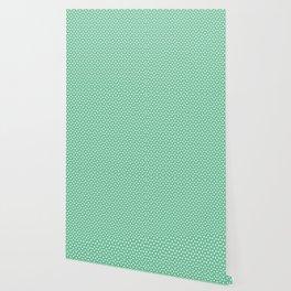 Green white modern geometrical polka dots motif Wallpaper