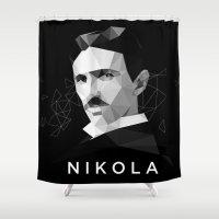 tesla Shower Curtains featuring Nikola Tesla by Department of Propaganda
