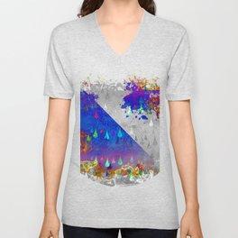 Abstract Colorful Rain Drops Design Unisex V-Neck