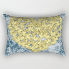 Gold butterflies in heart shape on teal web Rectangular Pillow