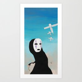 No Face & Paper Birds Art Print