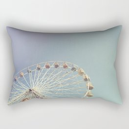 Ferris wheel against a blue sky with vintage film simulation Rectangular Pillow