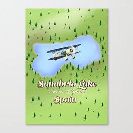 Sanabria Lake Spain travel Map. Canvas Print