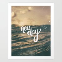 pocketfuel Art Prints featuring NEW DAY by Pocket Fuel