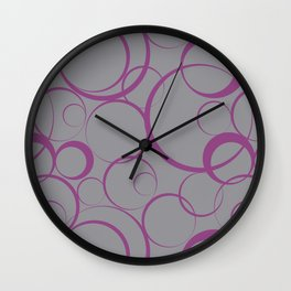 Purple and Gray Funky Ring Pattern V23 2021 Color of the Year Ultimate Gray & Accent Shade Wall Clock